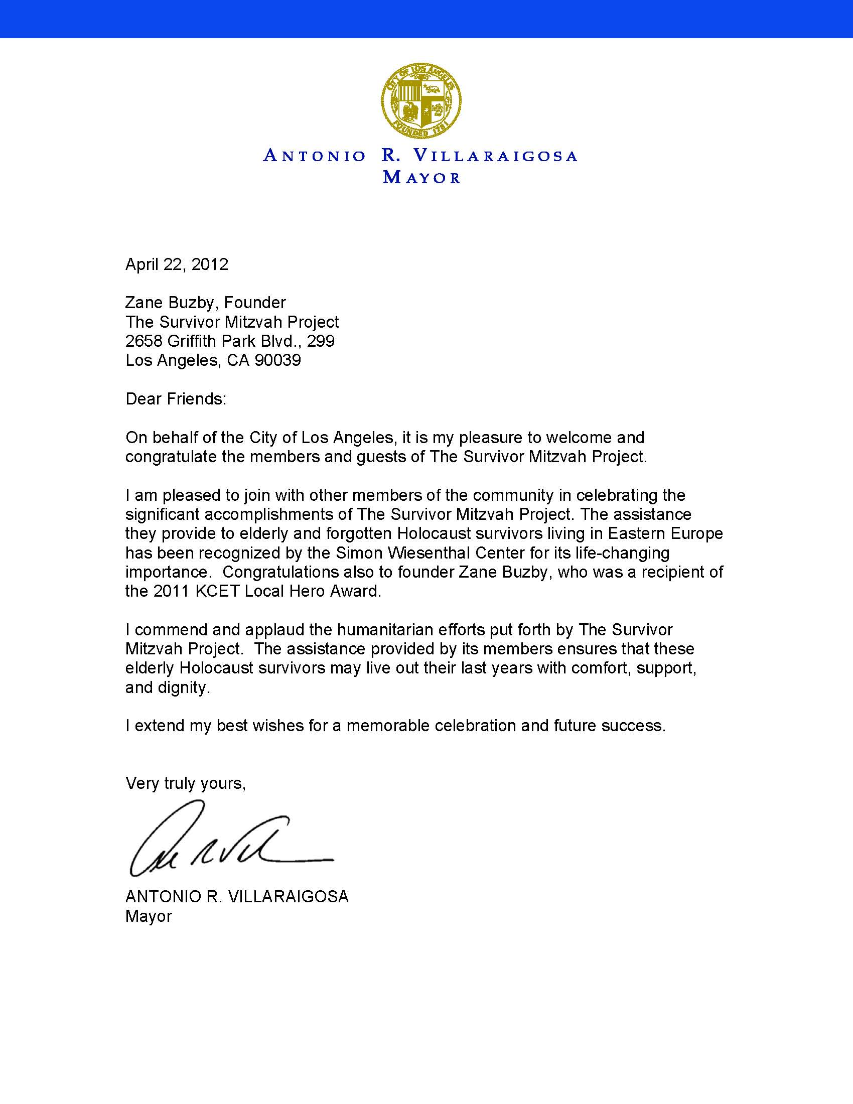 Letter from Mayor Villaraigosa